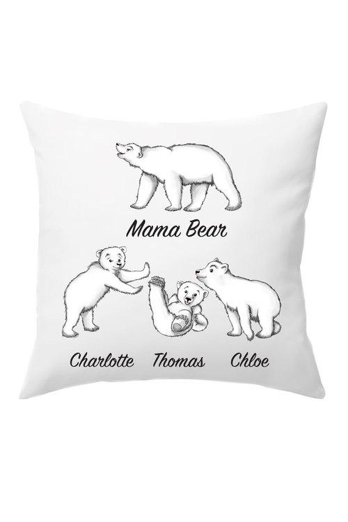 Personalised Mumma Bear Cushion Cover With Three Baby Bears