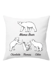 Personalised Mumma Bear Cushion Cover With Three Baby Bears - 282710