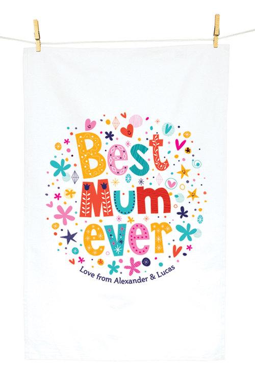 Personalised Best Mum Ever Tea Towel