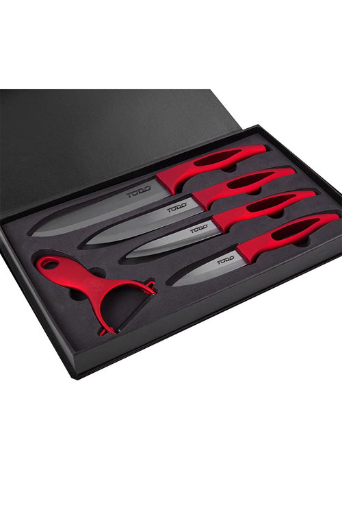 TODO 5 Piece Ceramic Knife and Peeler Set with Shieth
