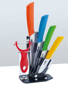 TODO 5 Piece Ceramic Knife and Peeler Set with Stand - 283095