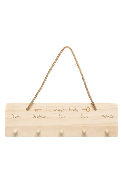 Personalised Wooden Family Key Hanger With Names
