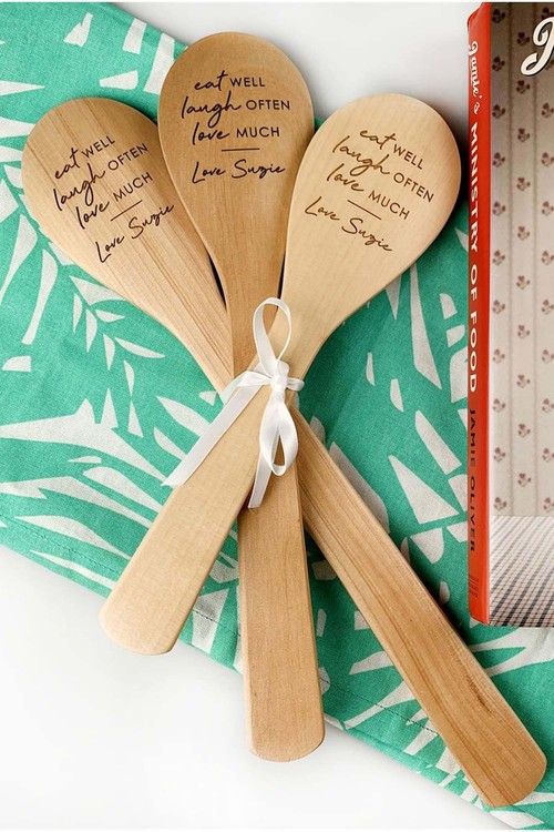 Personalised Engraved 3-piece Wooden Spoon Set