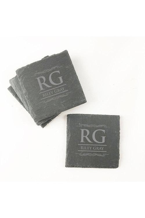 Personalised Engraved Monogram 4-Piece Slate Coaster Set