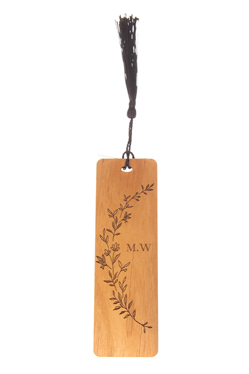 Personalised Engraved Floral Novelty Wooden Bookmark