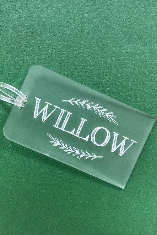 Personalised Engraved Acrylic Kids Laurel Leaves Bag Tag