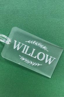 Personalised Engraved Acrylic Kids Laurel Leaves Bag Tag - 283655