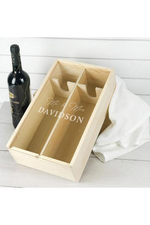 Personalised Double Raw Wine Box