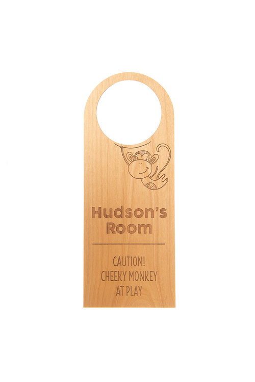Personalised Engraved Cheeky Monkey Wooden Door Hanger