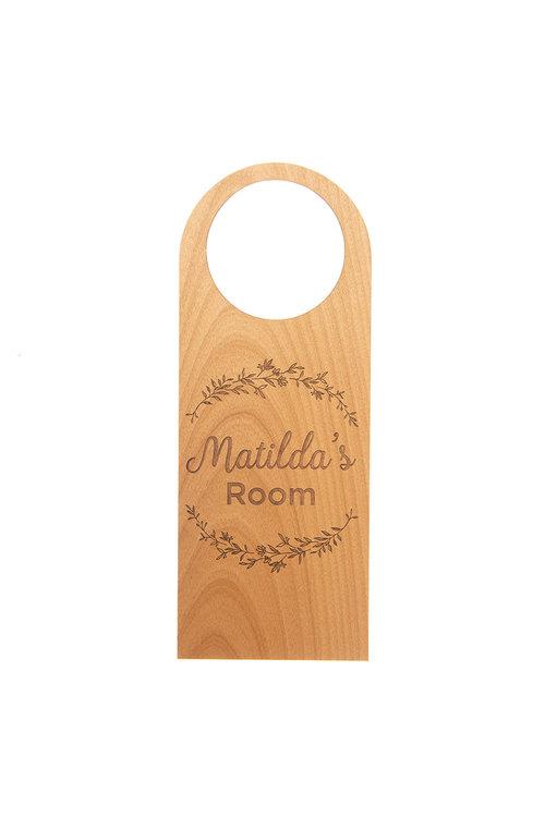 Personalised Engraved Fern Design Wooden Door Hanger