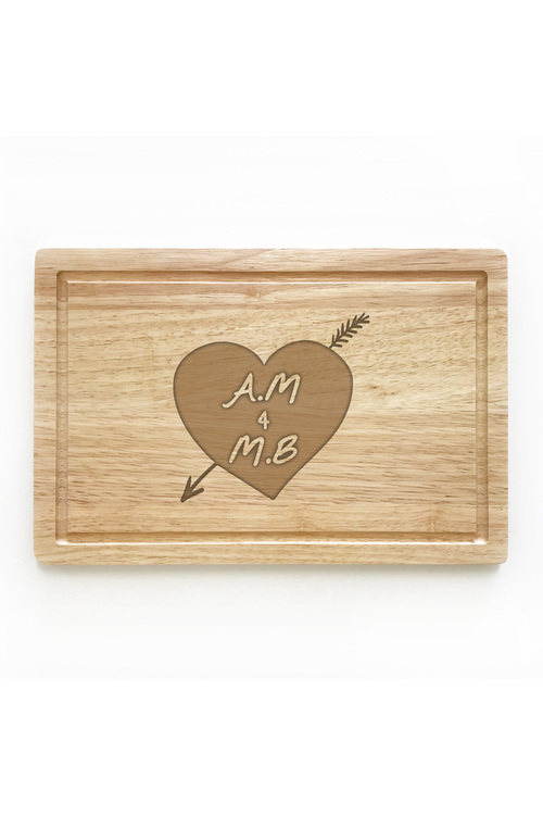 Personalised Heart And Arrow Chopping Board