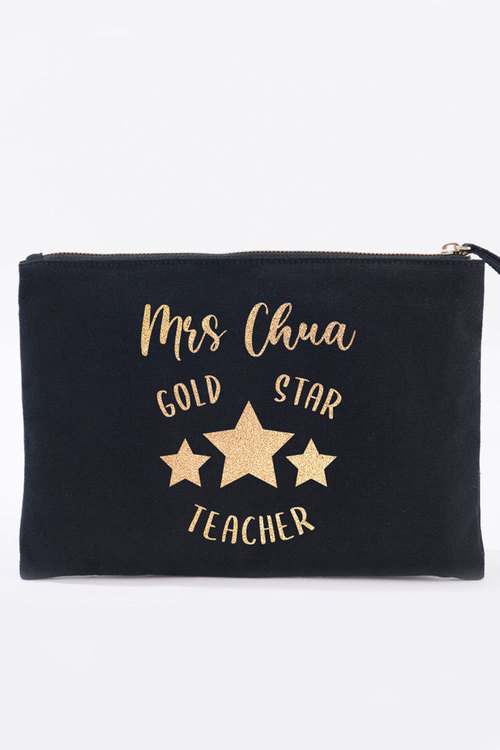 Personalised Gold Star Teacher Canvas Pouch