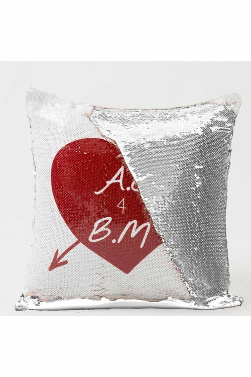 Personalised Love Heart and Arrow Sequin Cushion Cover