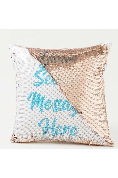 Personalised Gold Sequin Cushion Cover- Secret Message
