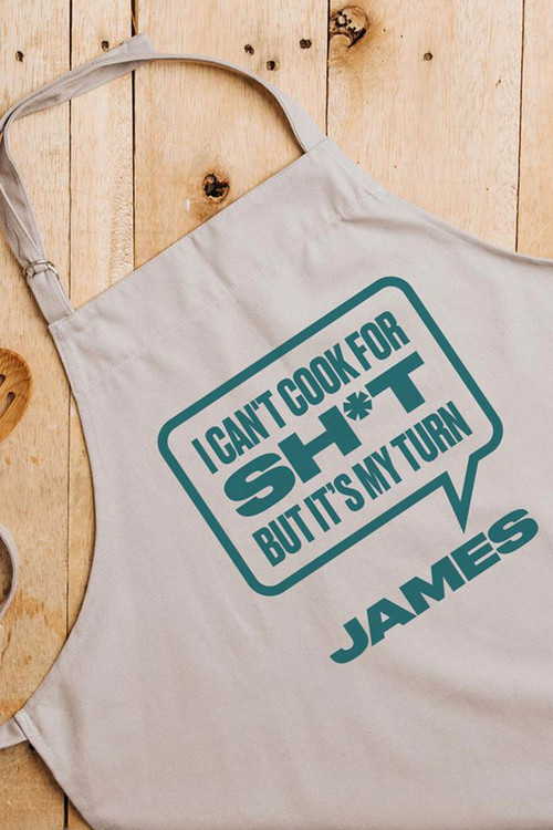 Personalised Grey Apron- I Can't Cook