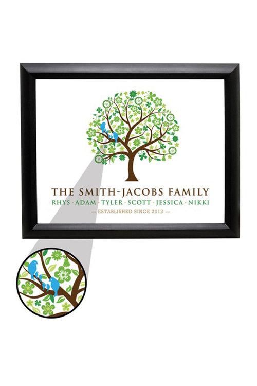 Personalised Love Birds Family Tree - Medium (20X25)