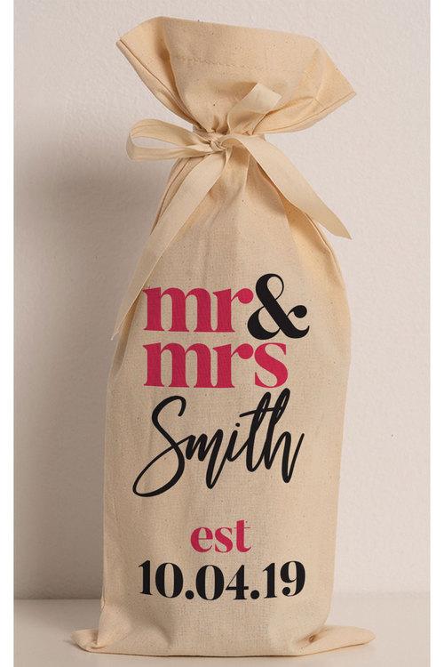 Personalised Wine Gift Bag - Mr & Mrs