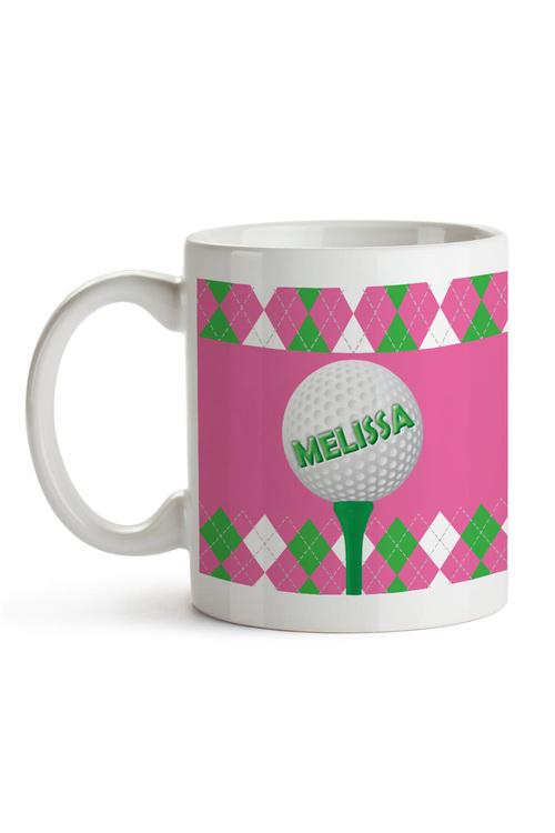 Personalised Green & Blue Argyle Golf Ceramic Mug