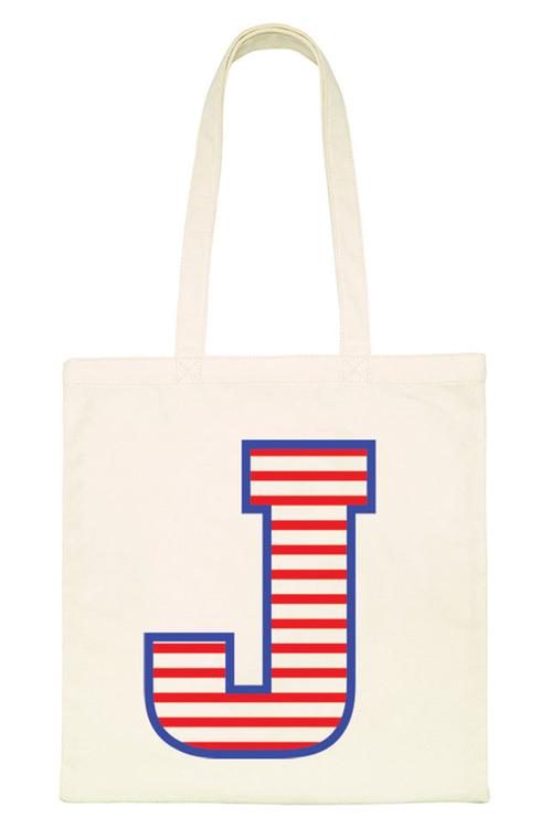 Striped Letter Tote Bag