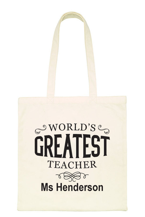 Personalised World's Greatest Teacher Tote Bag