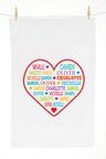 Personalised Our Heart Tea Towel