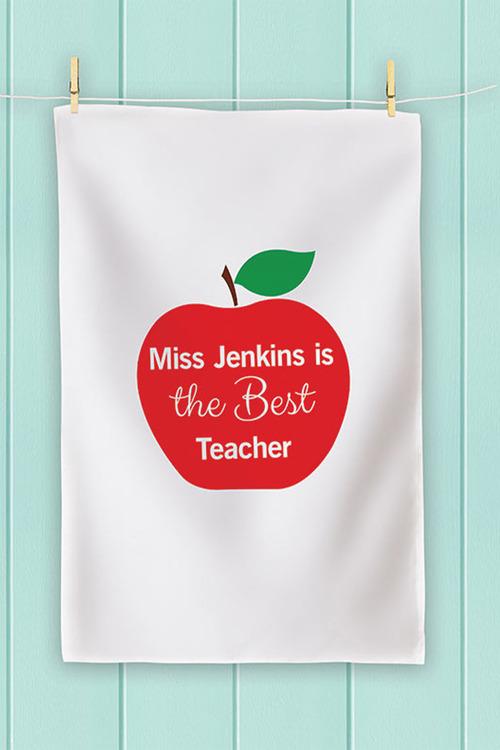 Personalised Teacher's Apple Tea Towel