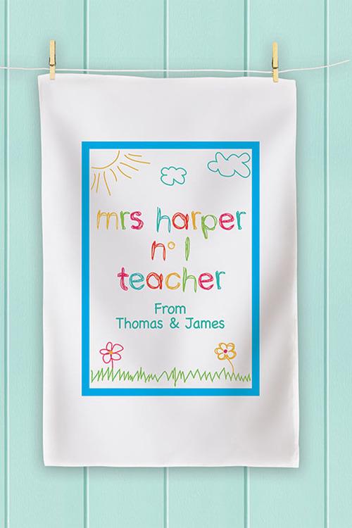 Personalised No 1 Teacher Drawing Tea Towel