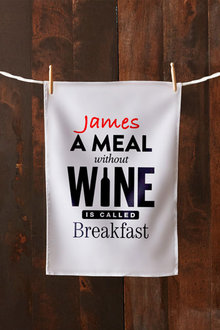 Personalised Meal Without Wine Tea Towel - 283829