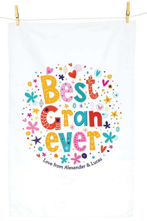 Personalised Best Gran Ever Tea Towel