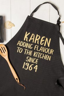 Personalised Adding Flavour To The Kitchen Black Apron - 283909