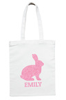 Personalised Pink Glitter Bunny Easter Tote