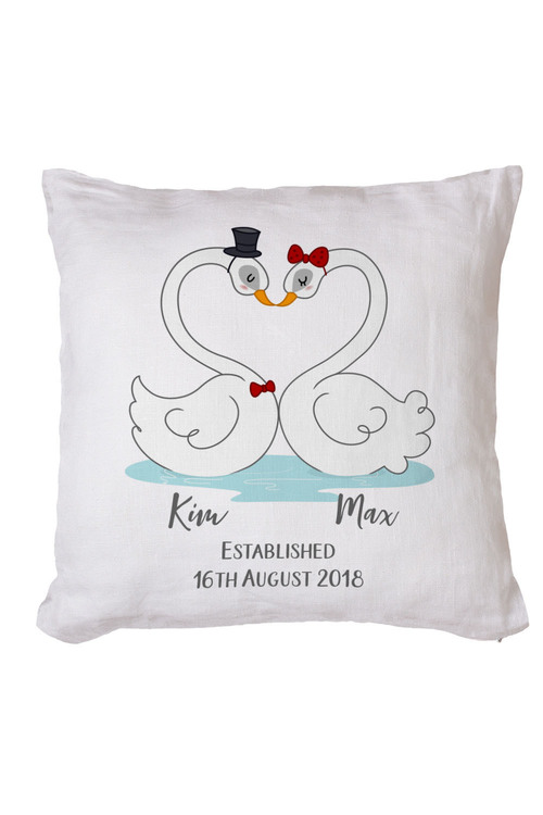 Personalised Love Swans Cushion Cover