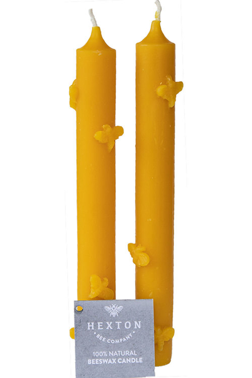 Hexton 100% Beeswax Taper Bee Candle Set of Two