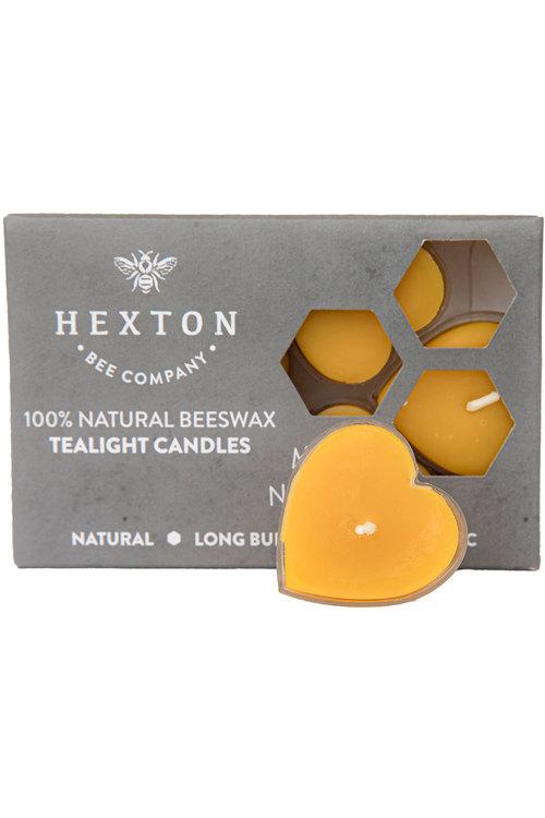 Hexton 100% Beeswax Heart Shaped Tealight Candles Set of Six
