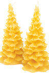 Hexton 100% Beeswax Pinetree  Candle Set of Two