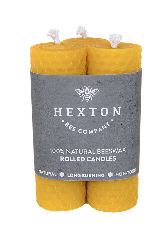 Hexton 100% Beeswax Rolled Candle Set of Three