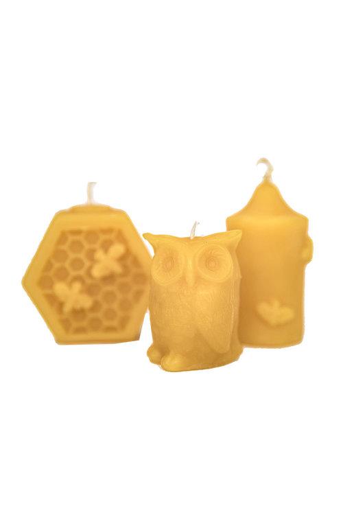 Hexton 100% Beeswax Votive Candles Set of Three