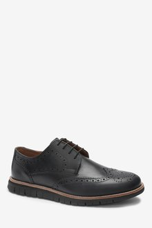 Next Leather Motion Flex Brogue Shoes - 284668