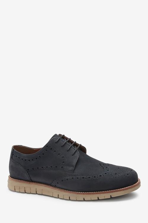 Next Leather Motion Flex Brogue Shoes