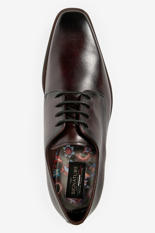 Next Signature Italian Leather Square Toe Derby Shoes