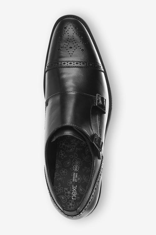 Next Leather Toe Cap Double Monk Shoes