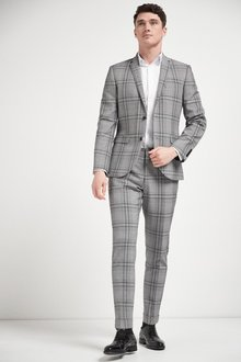 Next Slim Fit Check Suit: Jacket - 284756