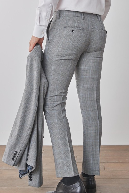 Next Slim Fit Signature Check Suit: Trousers