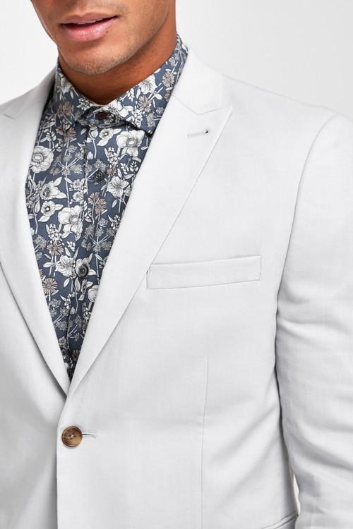Next Linen Blend Skinny Fit Suit-Jacket