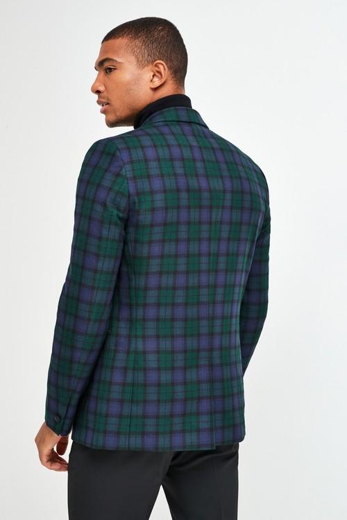 Next Joules Slim Fit Blackwatch Check Tuxedo Jacket