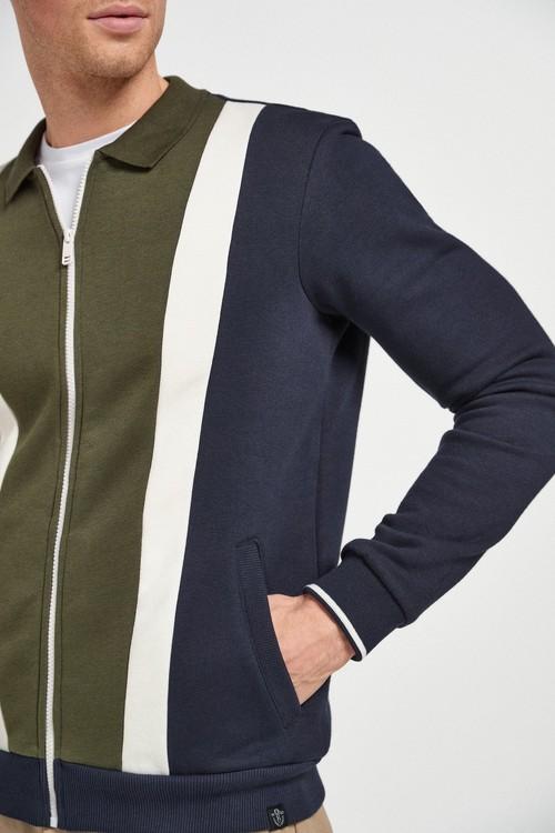 Next Colourblock Collared Zip Through Top