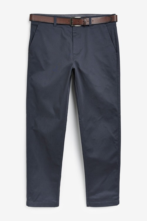 Next Belted Geo Print Chino Trousers-Straight Fit