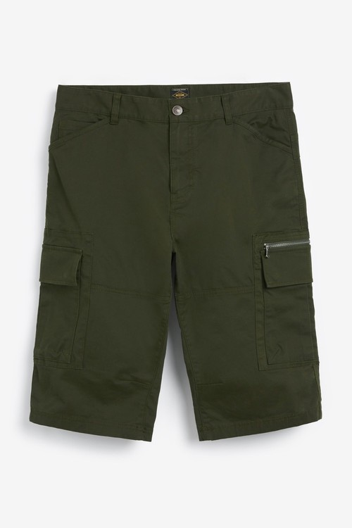 Next Laundered Cotton Long Cargo Shorts With Stretch