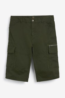 Next Laundered Cotton Long Cargo Shorts With Stretch - 285206
