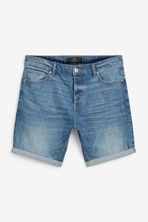 Next Authentic Vintage Denim Shorts With Stretch-Straight Fit